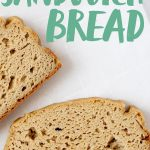 """Two slices of Grain-Free Sandwich Bread on a white background. Text overlay reads """"Grain Free Blender Sandwich Bread."""""""
