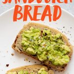 """Two slices of Grain-Free Sandwich Bread topped with avocado on a white plate. Text overlay reads """"Grain-Free Blender Sandwich Bread."""""""