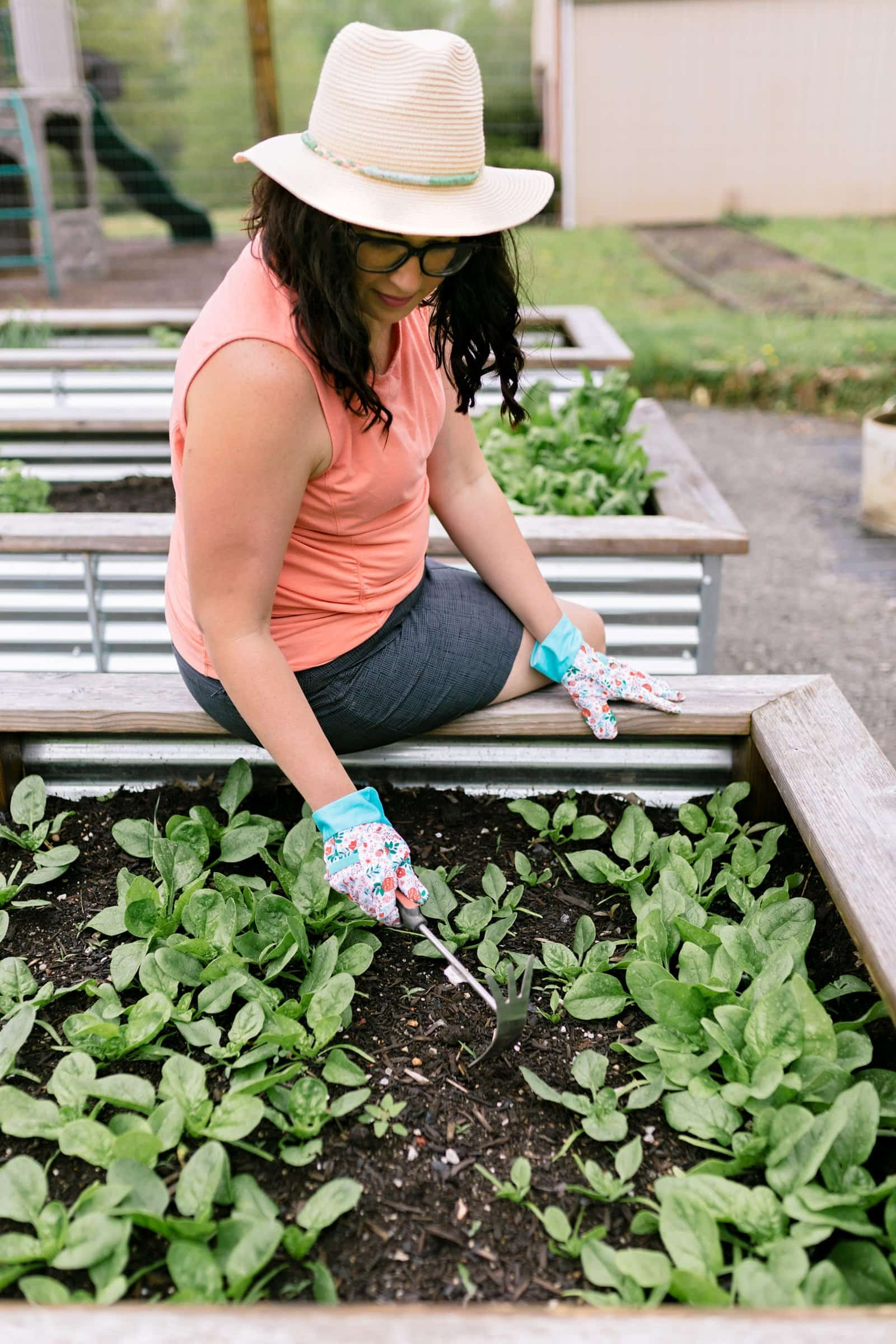 Woman in a coral shirt sitting on the edge of a raised garden bed full of greens, pulling weeds. Greens are a great starting point for beginner vegetable gardeners.