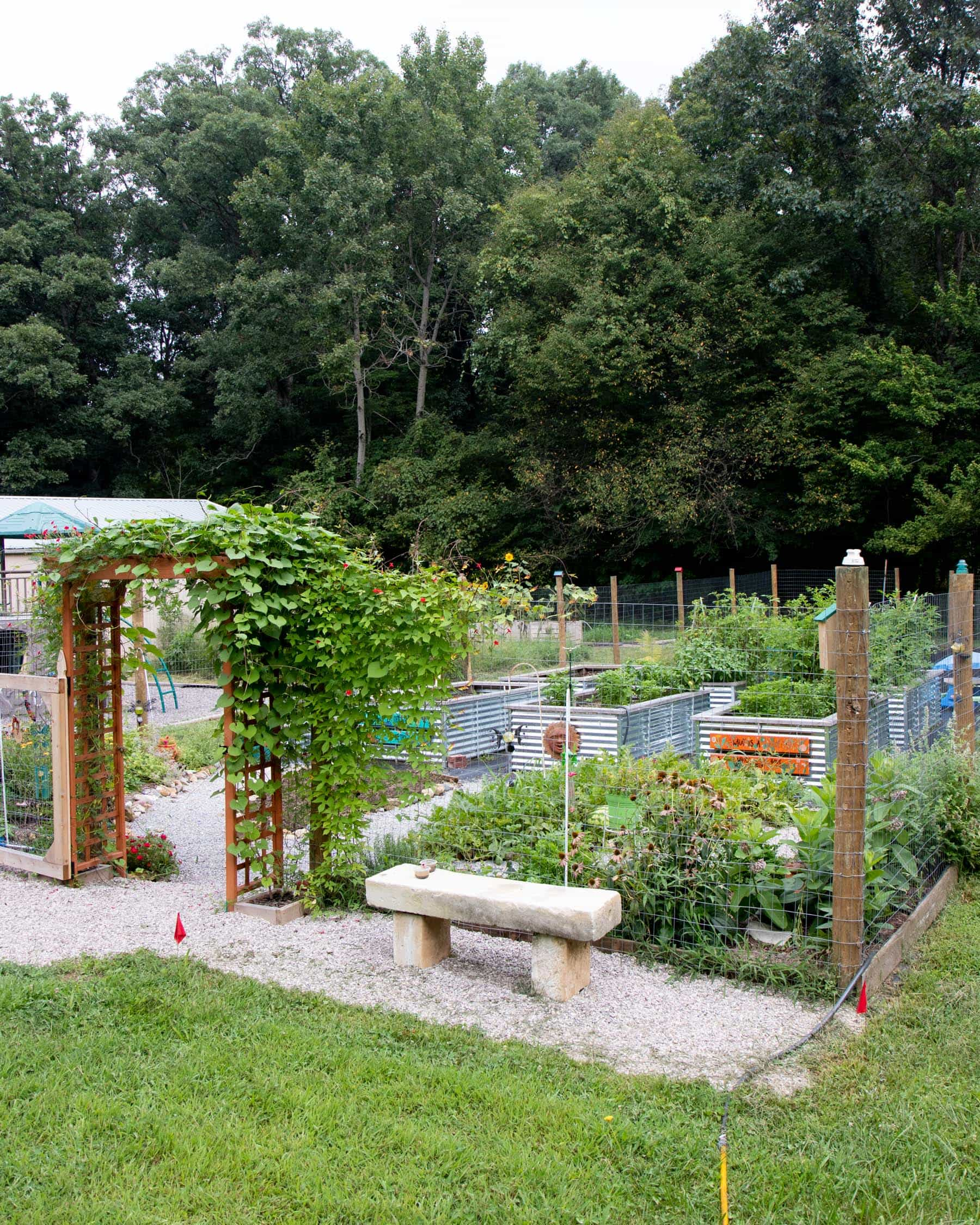 A fenced in vegetable garden