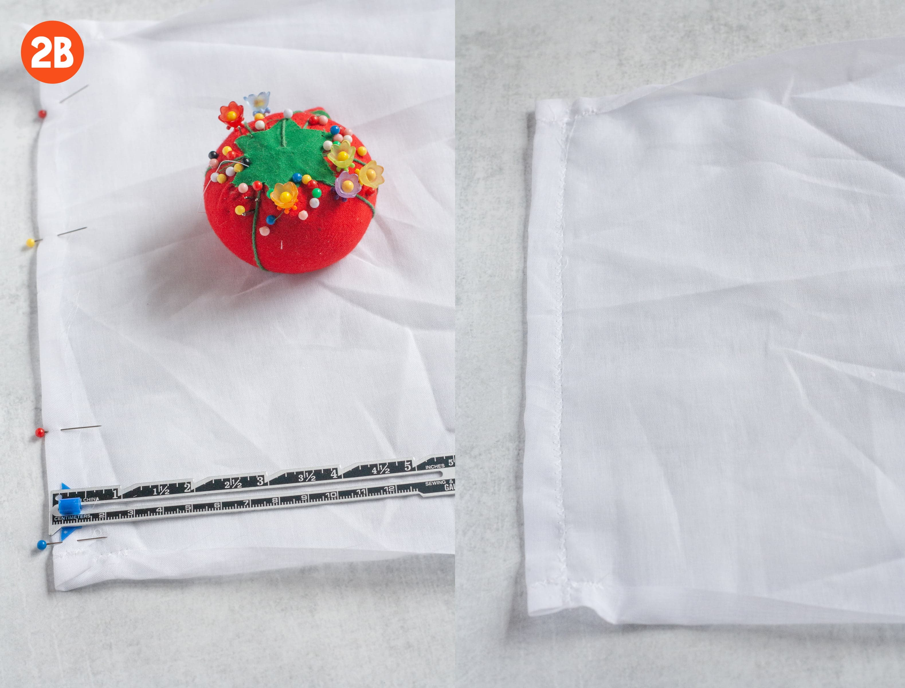 2 side-by-side shots showing how to make a drawstring casing. In one image, an edge of cotton voile is folded over and pinned. In the other, that fold is sewn down. Labeled 2b.