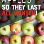 """Red, yellow, and green apples are arranged in rows, ready for storage. A text overlay reads """"How to Store Apples So They Last All Winter!"""""""