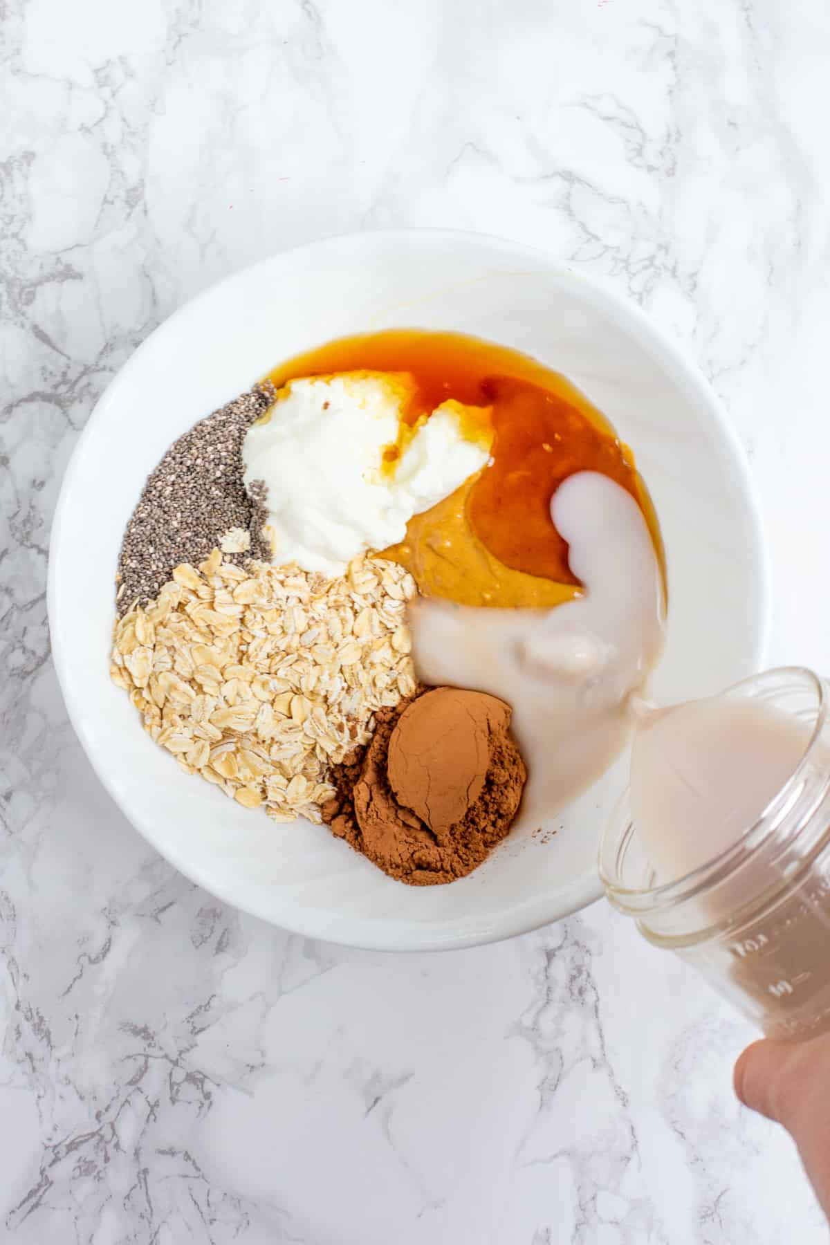 Ingredients in a white bowl - rolled oats, cocoa powder, peanut butter, yogurt, chia seeds, and milk.
