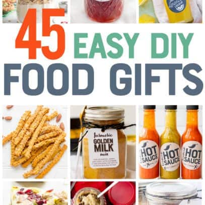 "A collage of photos of DIY food gifts, ranging from hot sauce, to limoncello, to soup mixes, and more. A text overlay reads ""45 Easy DIY Food Gifts."""