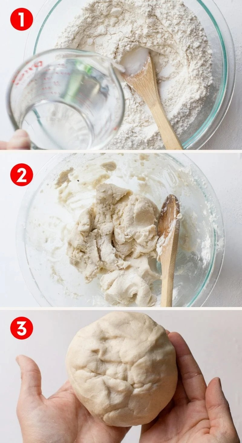 Step-by-step photos of making salt dough. Mixing ingredients in glass bowl with wooden spoon.