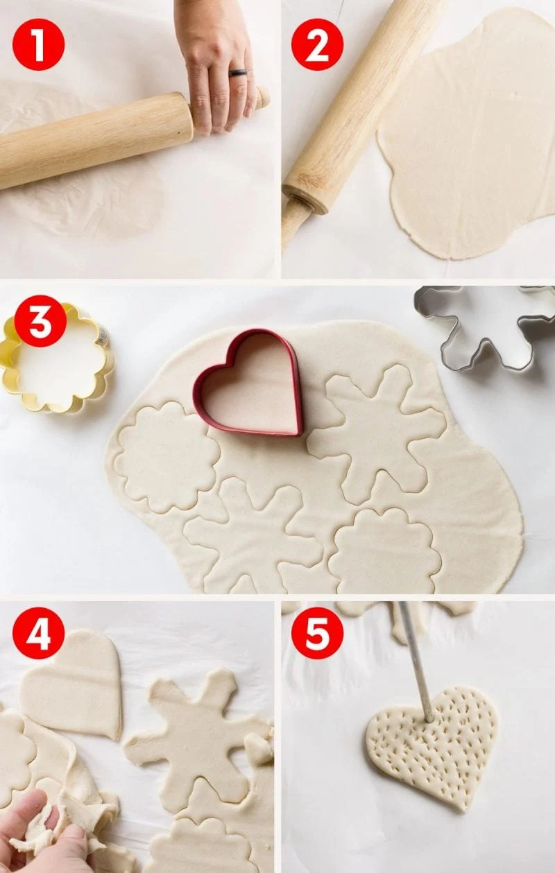 Step by step process of rolling and cutting salt dough ornaments on white background.