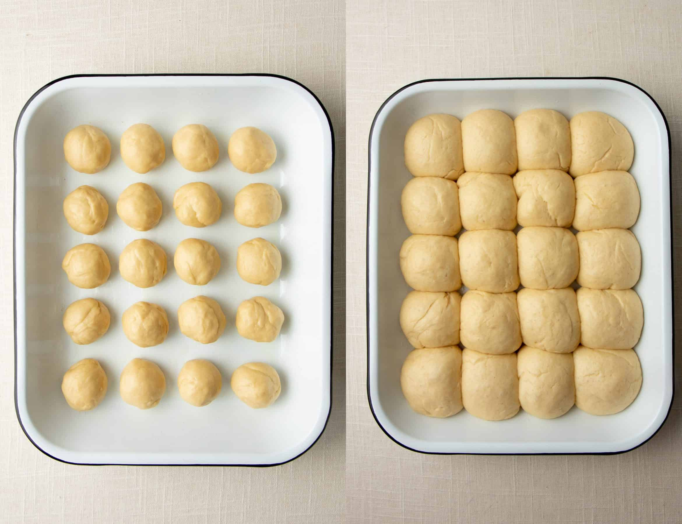 A split image with balls of bread dough on the left, and dough after rising on the right.