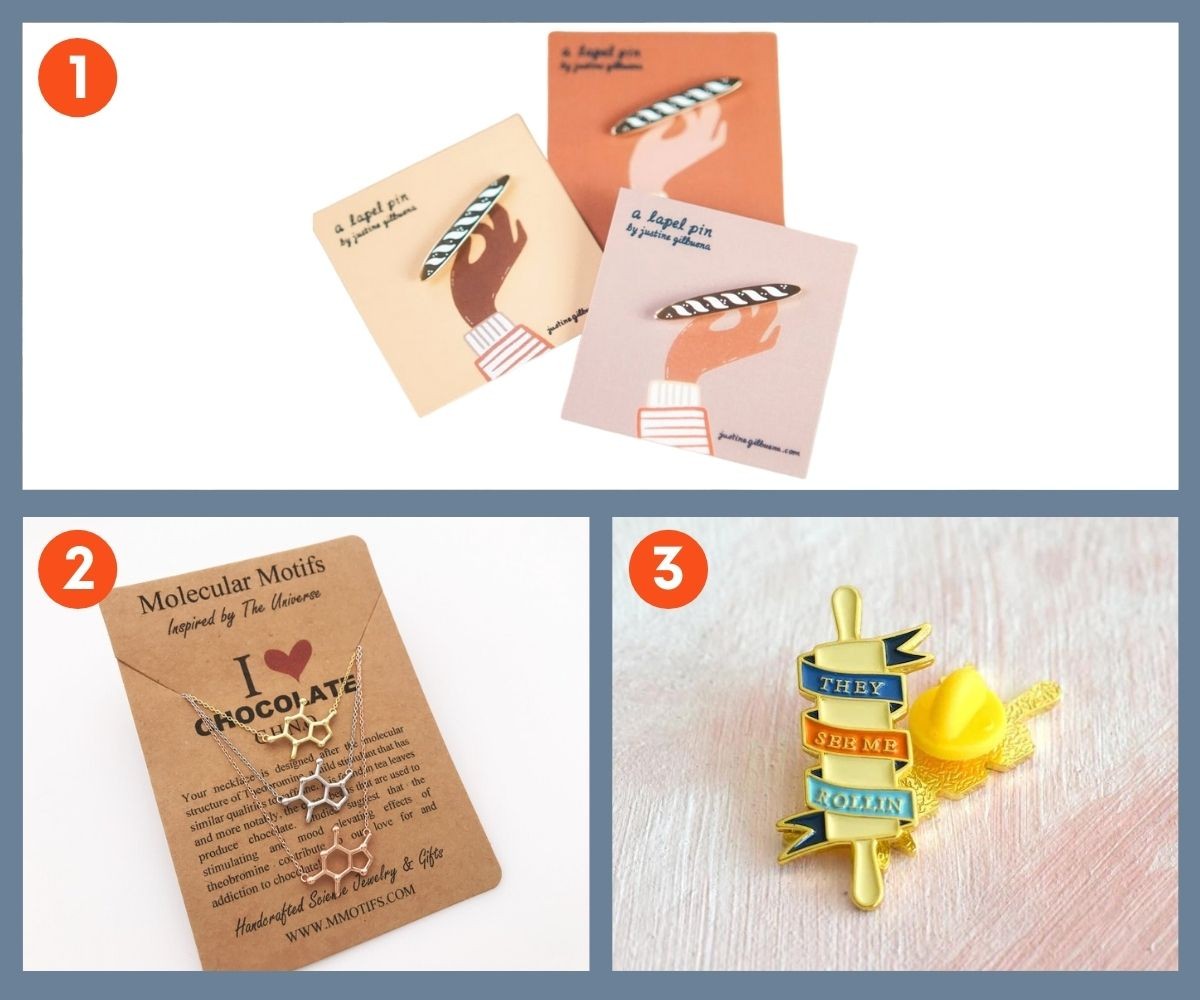 Collage of fun gifts for bakers including jewelry and pins.