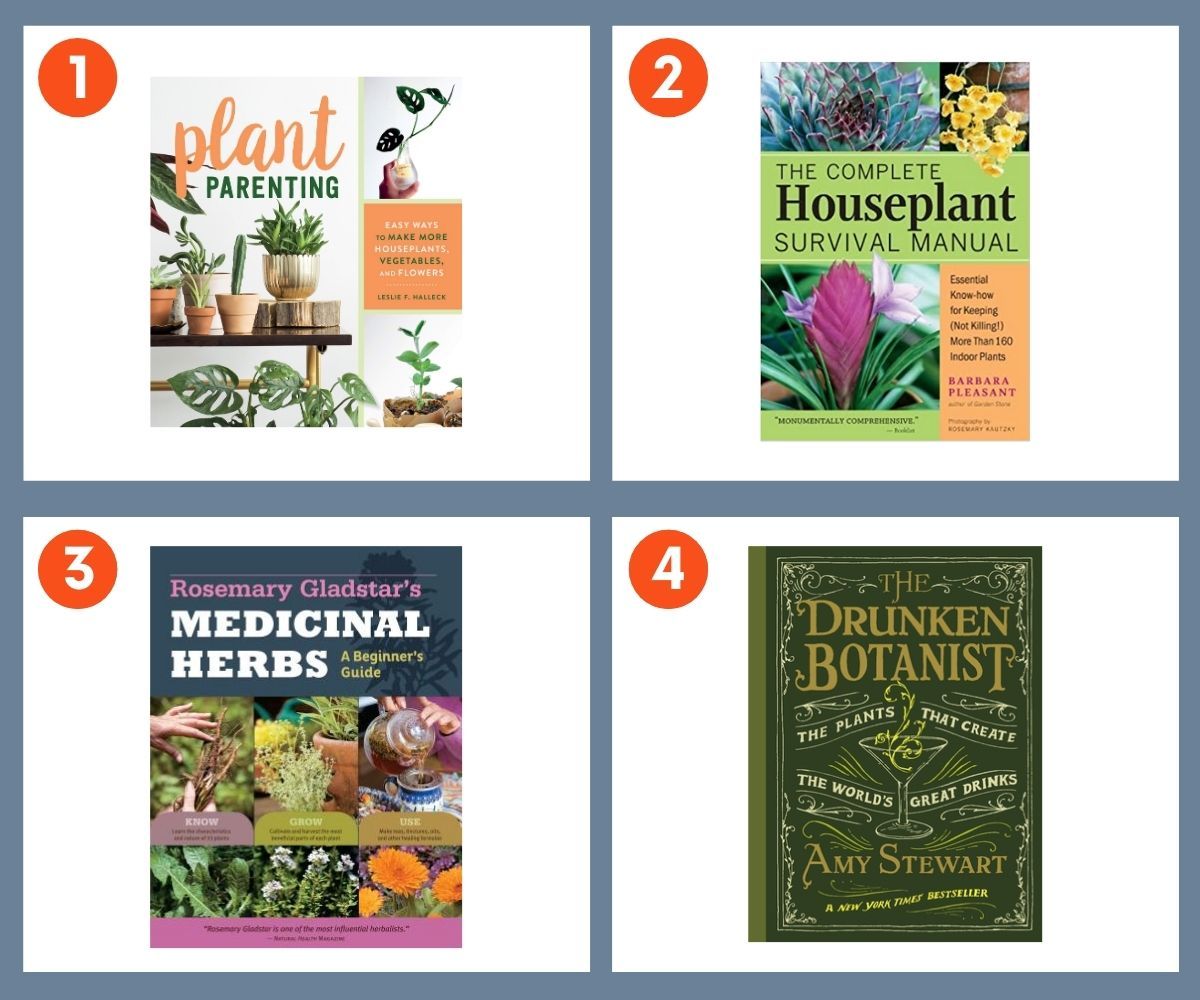 Collage of four books about plants including The Drunken Botanist, Plant Parenting, Medicinal Herbs, and The Complete Houseplant Survival Manual.