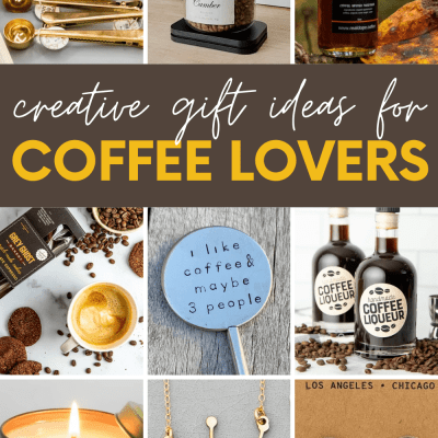 """Collage showing nine gift ideas for coffee lovers. A text overlay reads, """"Creative Gift Ideas for Coffee Lovers."""""""