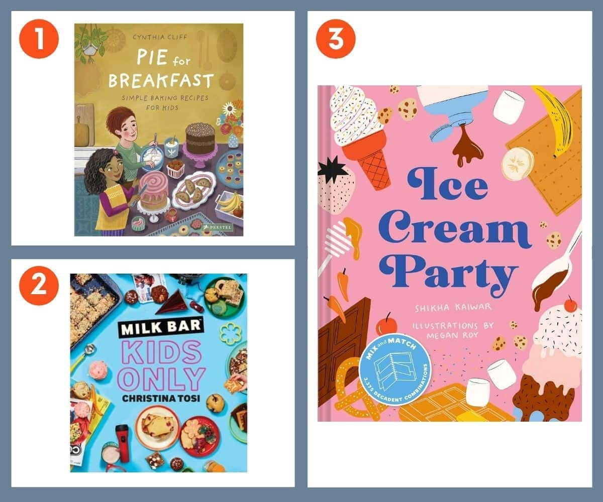 Three cookbooks for bakers: Pie for Breakfast, Milk Bar Kids Only, Ice Cream Party