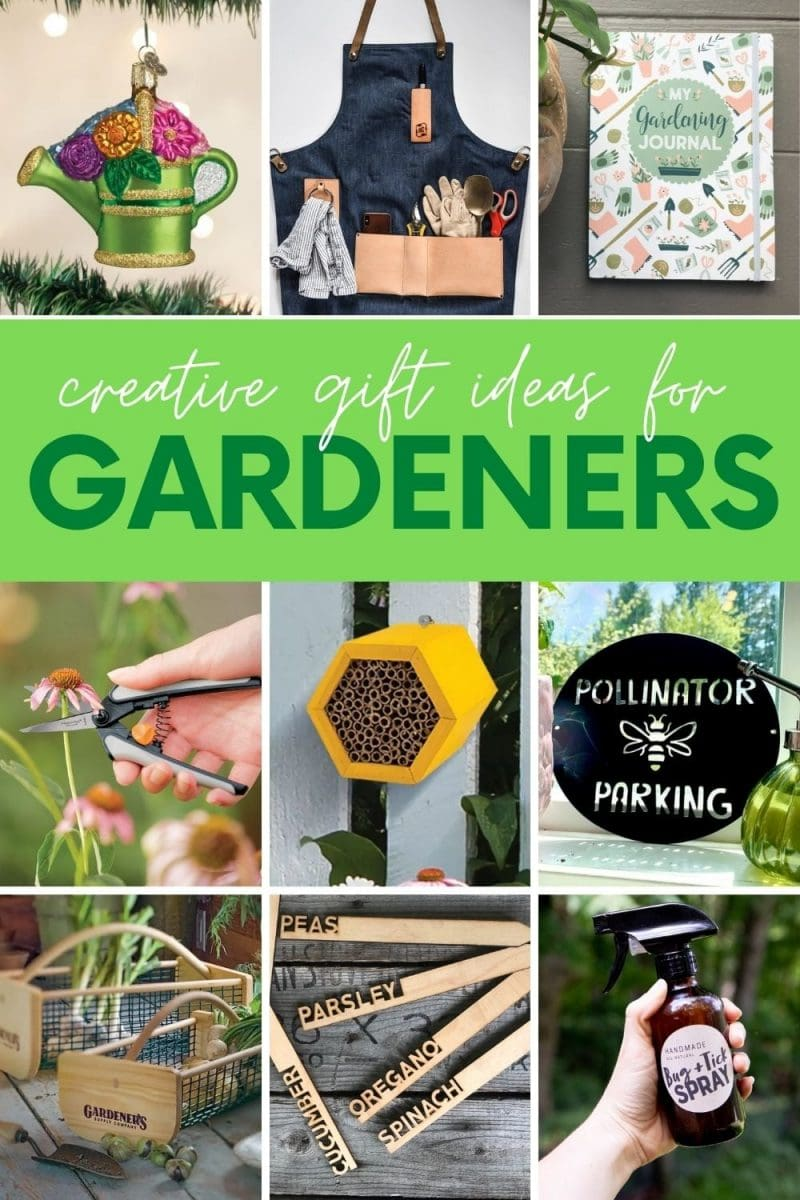 """Collage of nine gift ideas for gardeners. A text overlay reads, """"Creative Gift Ideas for Gardeners."""""""