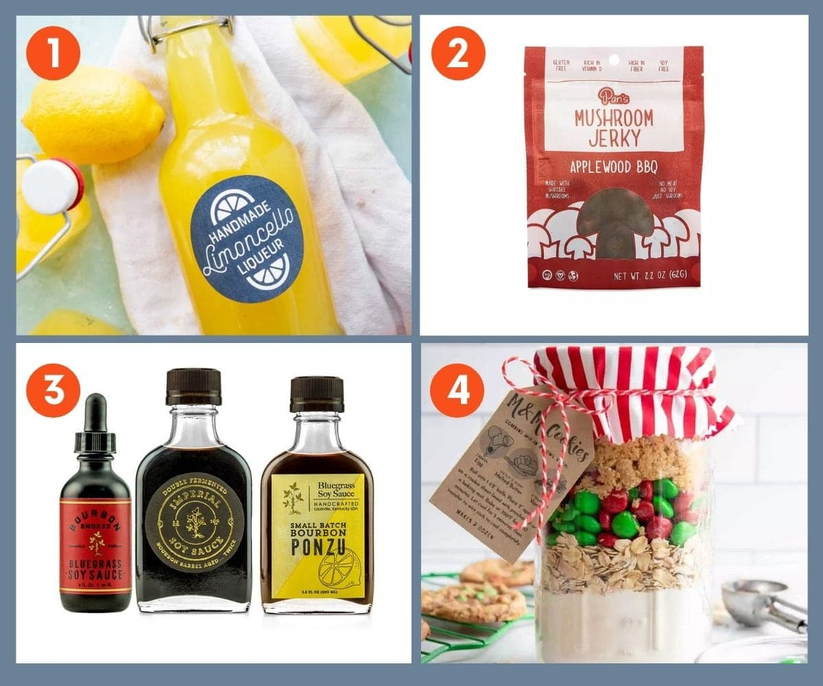 Collage of four fun gifts for foodies including homemade limoncello and mushroom jerky.