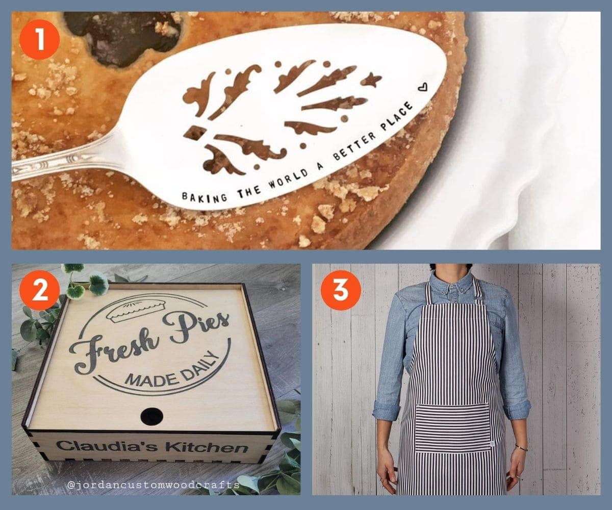 Collage of three customizable gifts for bakers including a wooden pie box, pie server, and full length apron.