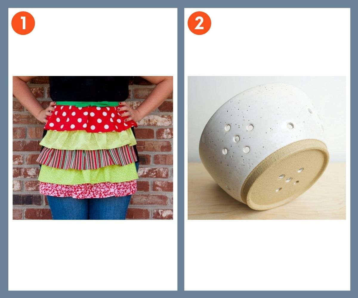 A split image with a homemade apron on one side, and a berry bowl on the other.