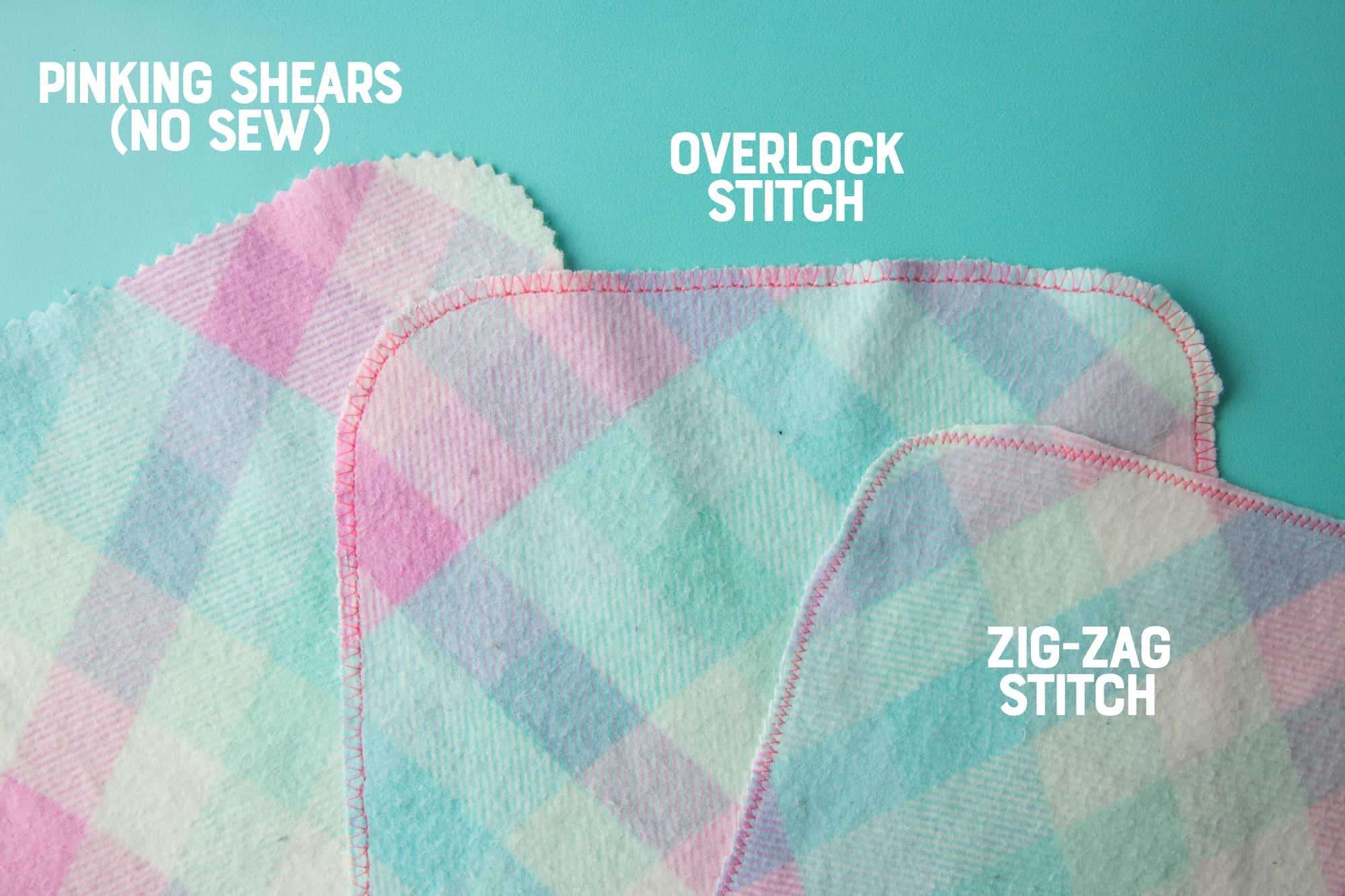 "Three types of cloth for reusable toilet paper sit on a blue background, with the labels ""pinking shears (no sew"", ""overlook stitch"", and ""zig-zag stitch"""