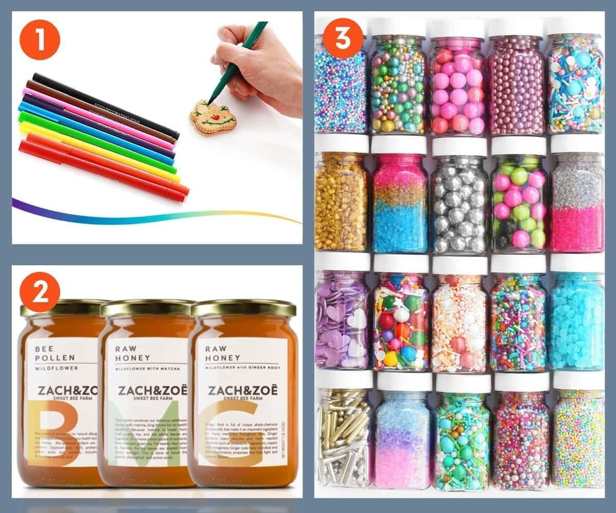 Specialty ingredients that make good gifts for bakers, including specialty honey and beautiful sprinkles