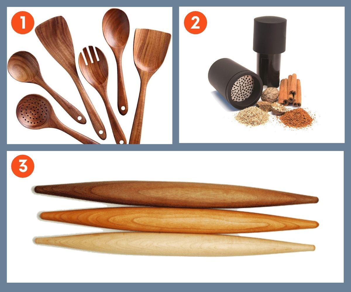 Collage of three baking tools including tapered, french-style rolling pins, wooden cooking utensils, and a spice grinder.