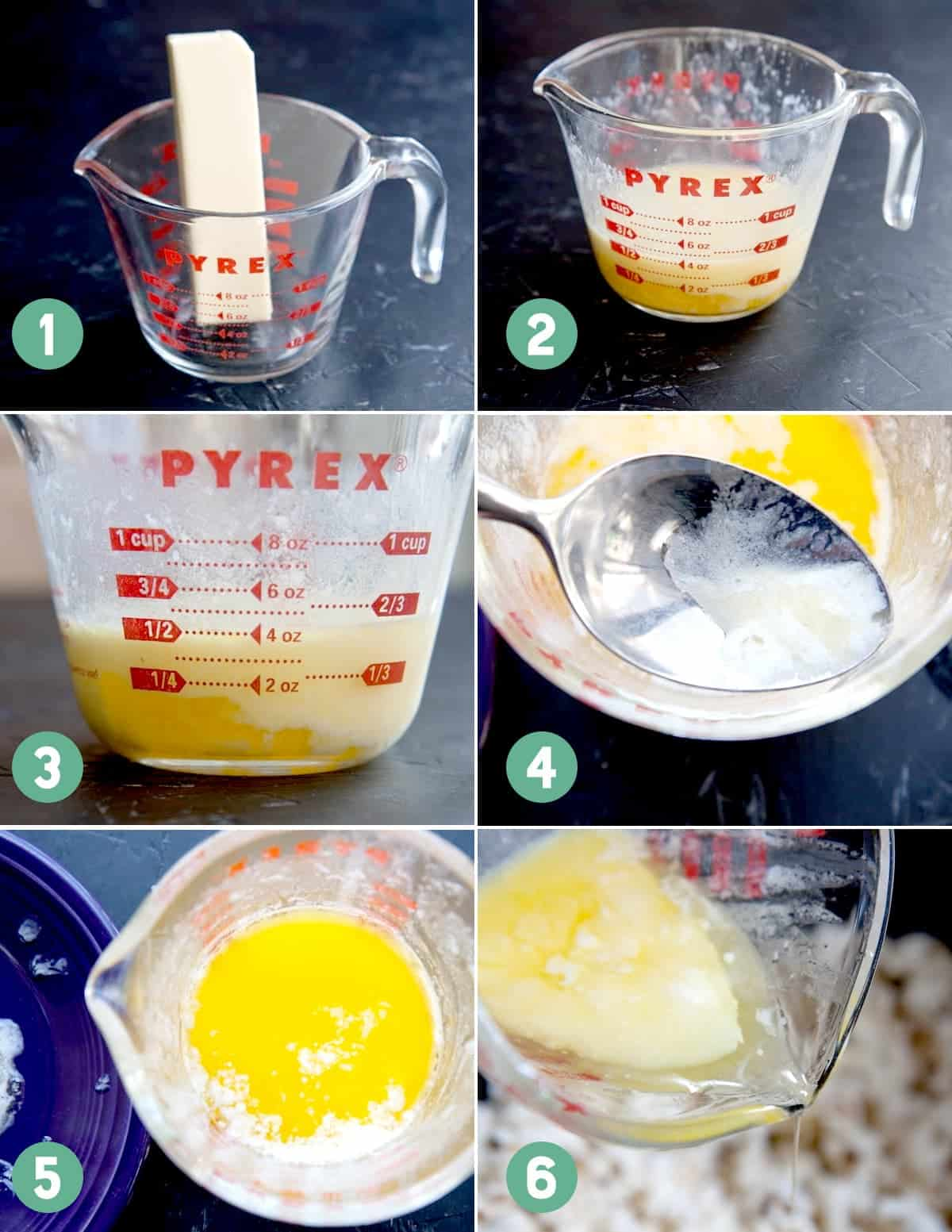 Numbered images show how to clarify butter for popcorn.