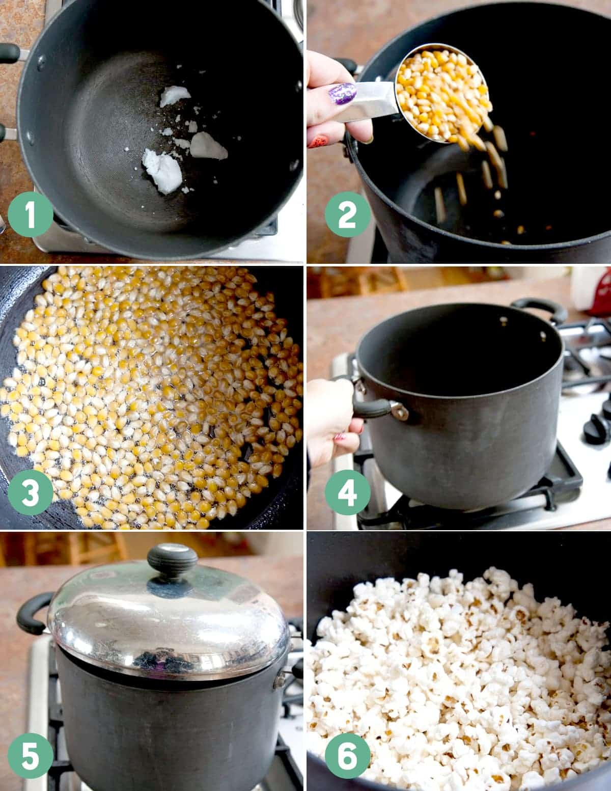 Numbered images show the steps for making popcorn on the stove.