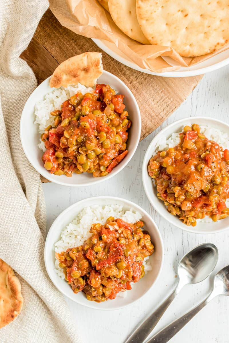 Three bowls of Split Pea Curry sit together.