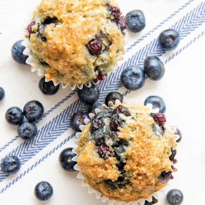 Two Vegan Blueberry Muffins sit together surrounded by fresh blueberries.