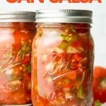 "Close-up of two pint-sized mason jars filled with zesty salsa for canning. A text overlay reads, ""How to Can Salsa."""