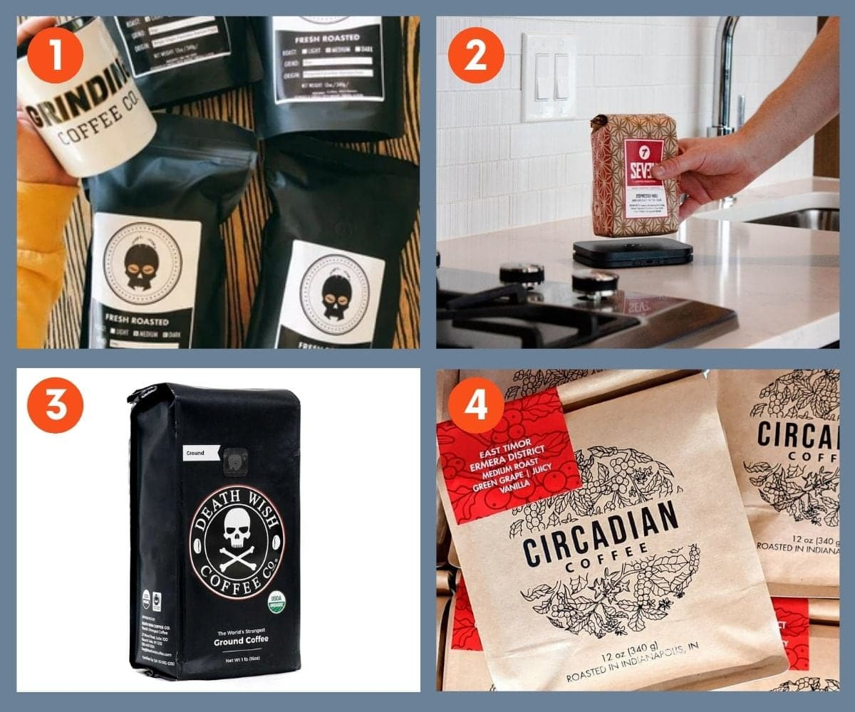 Numbered collage showing bags of coffee from Grinding Coffee Co, Bottomless, Death Wish Coffee Co, and Circadian Coffee.