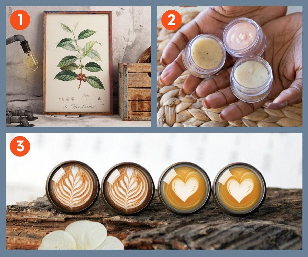 Numbered collage showing three coffee decor and skin care products.
