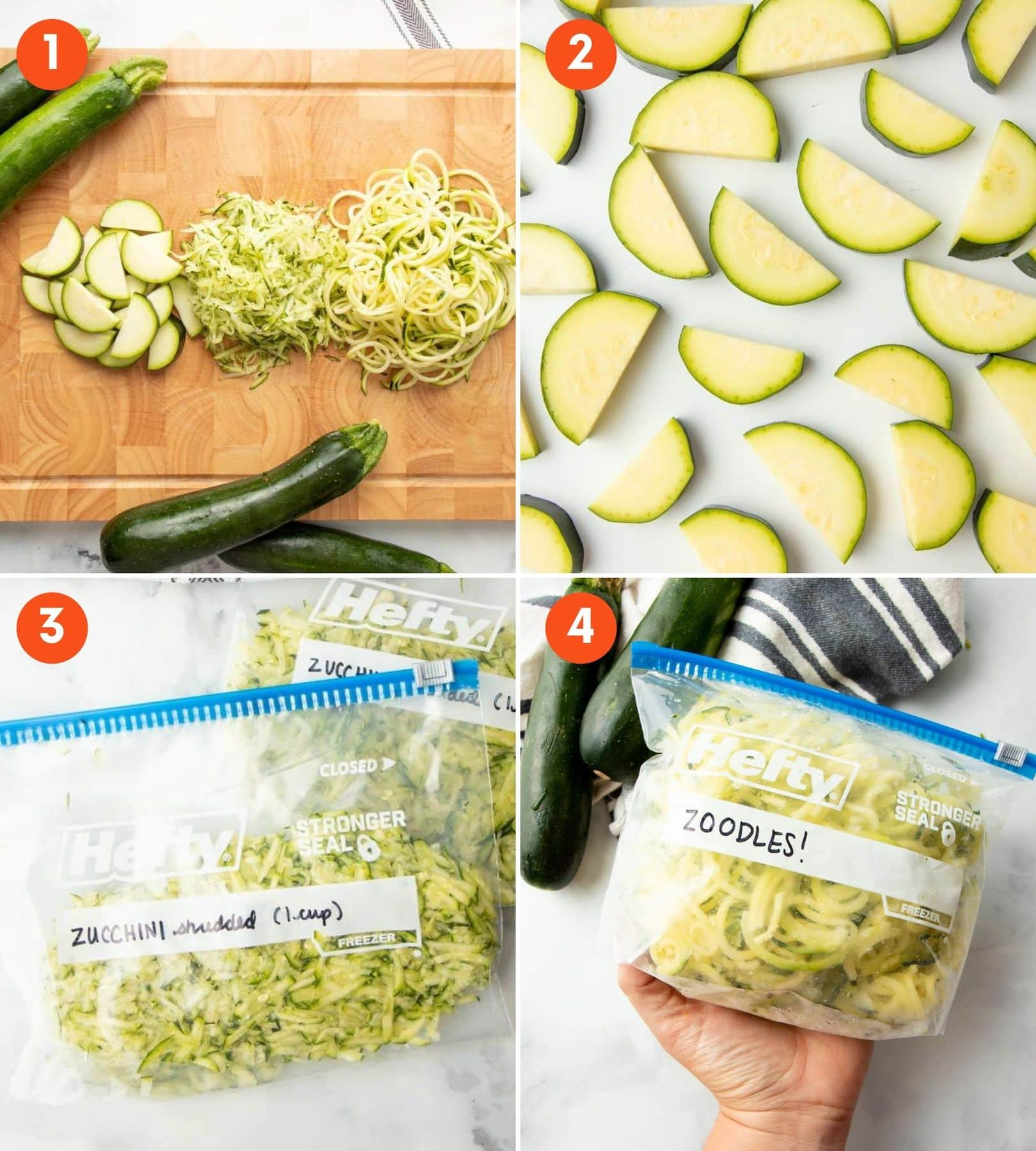 A collage of images showing three different ways to freeze zucchini.