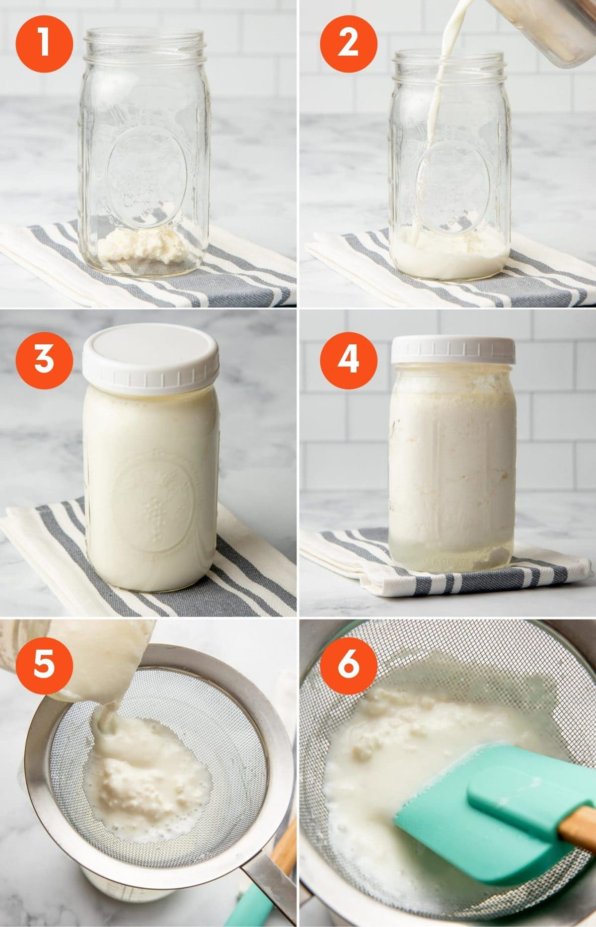 Collage of images showing how to make kefir in six steps.