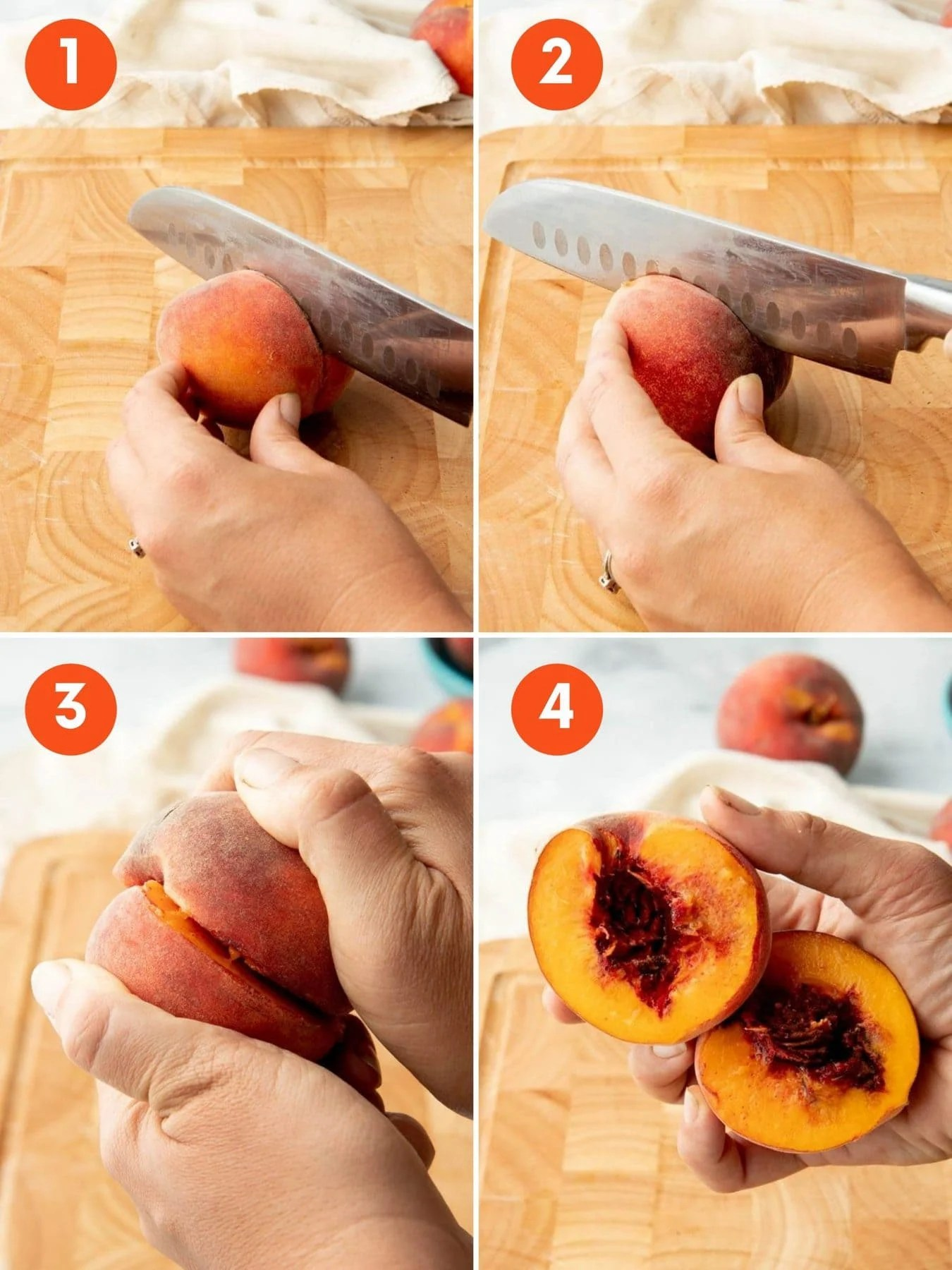 Collage of images showing how to pit a peach in 4 steps.