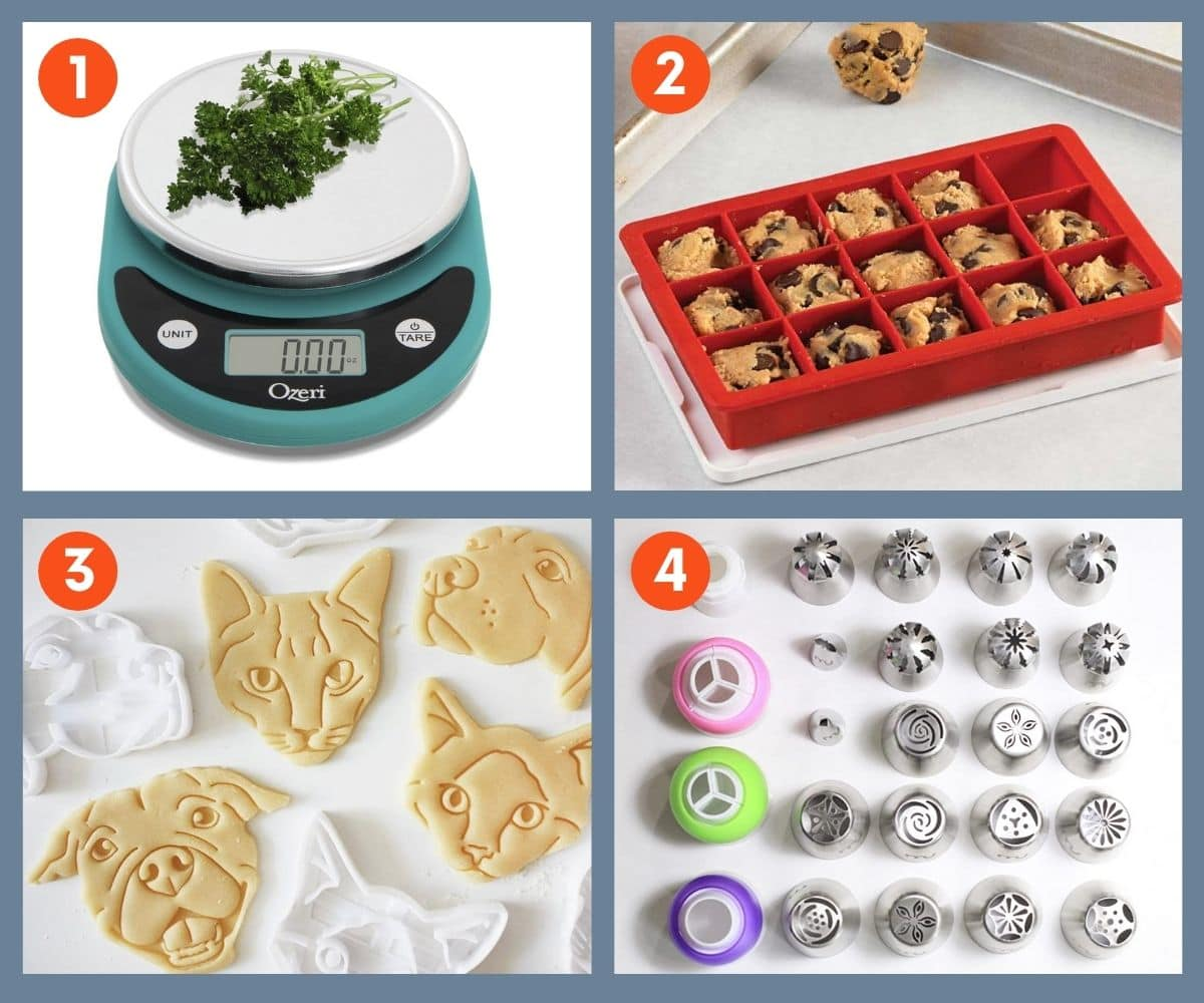 Collage of four fun baking tools for gifting including decorative piping tip set, colorful food scale by Ozeri, and cat and dog cookie cutters.