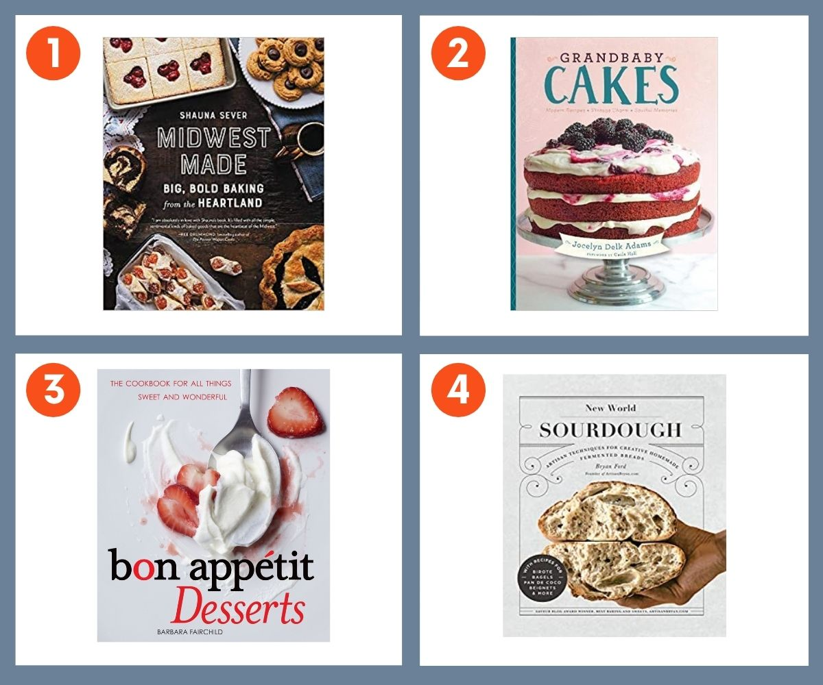 Collage of four baking cookbooks for gifting including New World Sourdough, Grandbaby Cakes, and Midwest Made.