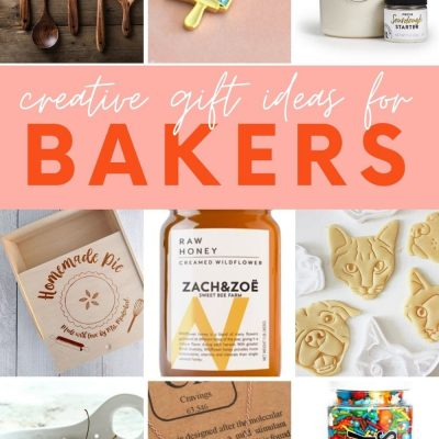 """Collage of nine gift ideas for people who love to bake. A text overlay reads, """"Creative Gift Ideas for Bakers."""""""