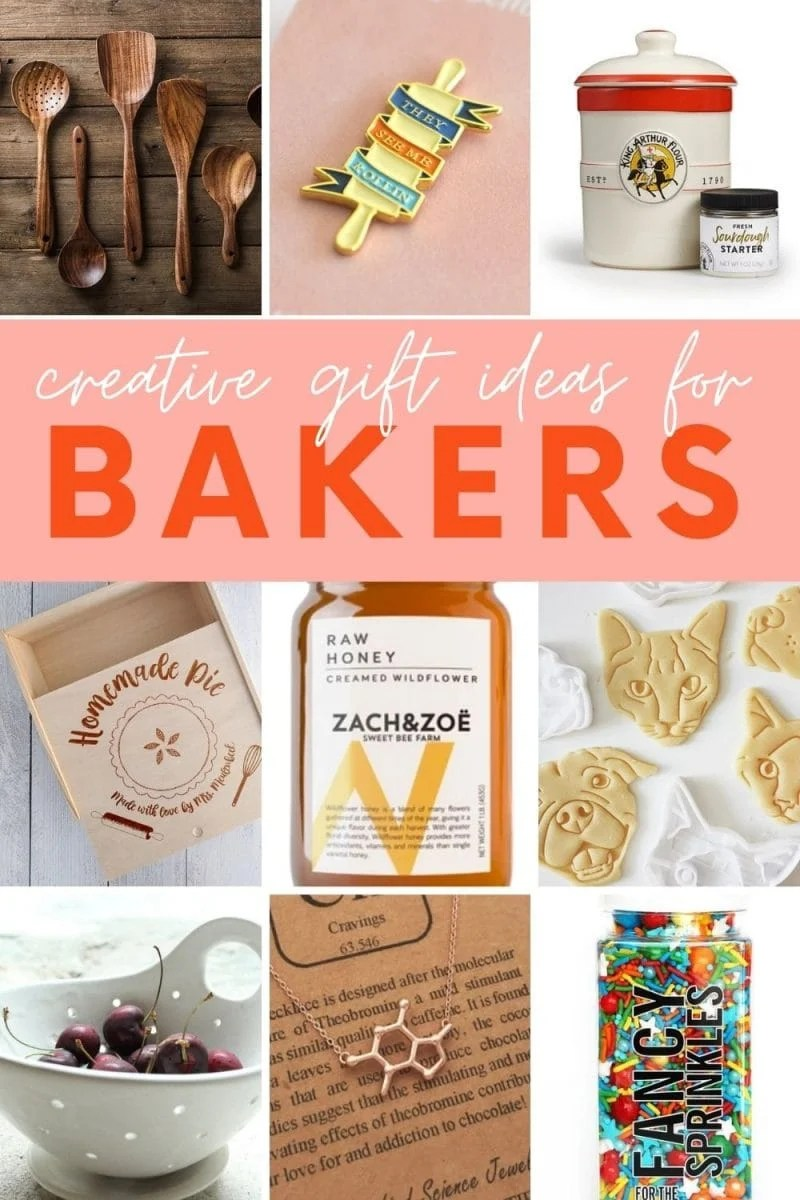 "Collage of nine gift ideas for people who love to bake. A text overlay reads, ""Creative Gift Ideas for Bakers."""
