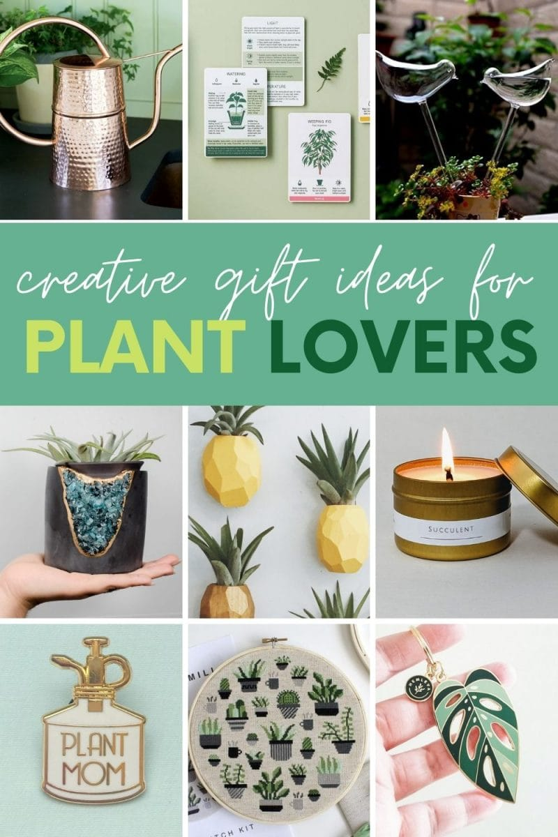 "Collage of nine gift ideas for plant lovers. A text overlay reads, ""Creative Gift Ideas for Plant Lovers."""
