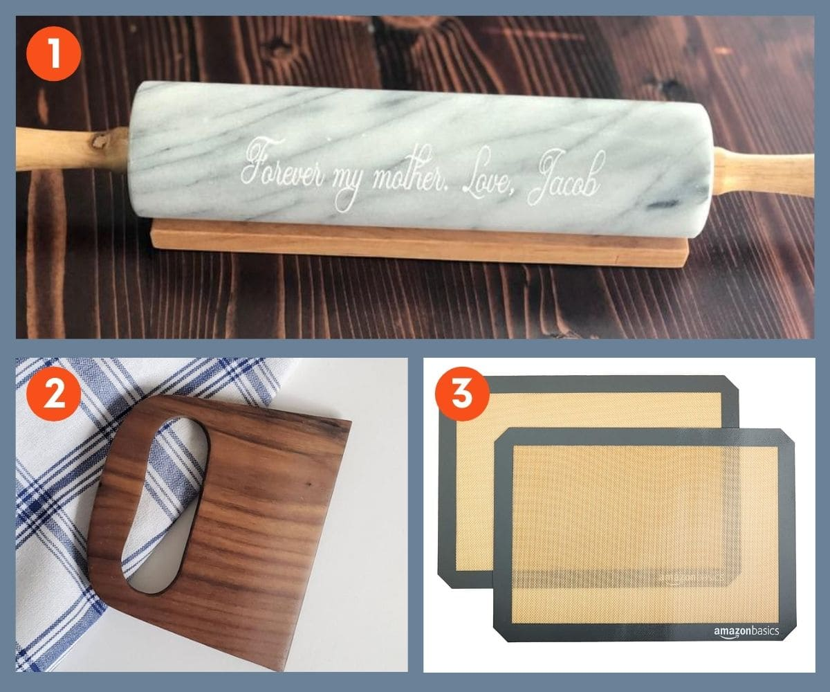Collage of three customizable gifts for bakers including an engraved marble rolling pin.