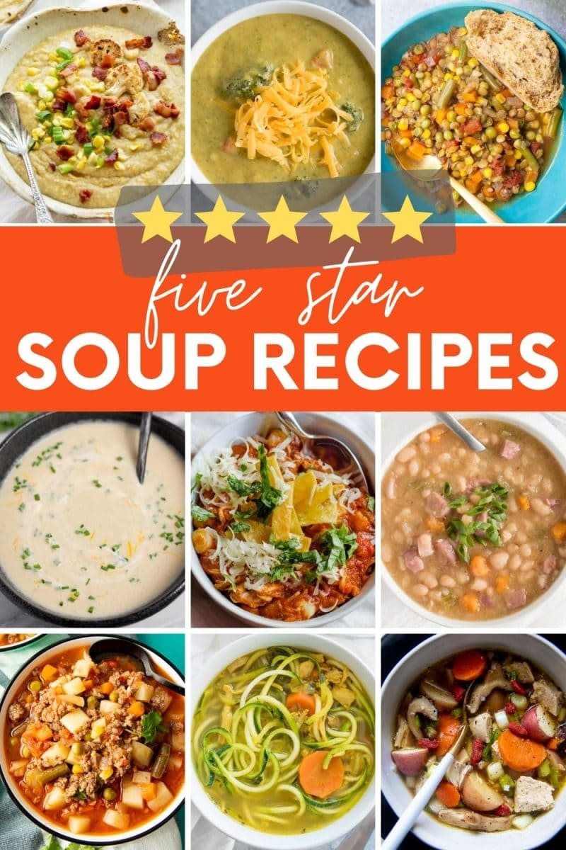 "Collage of nine bowls of soup perfect for autumn. A text overlay reads, ""Five Star Soup Recipes."""