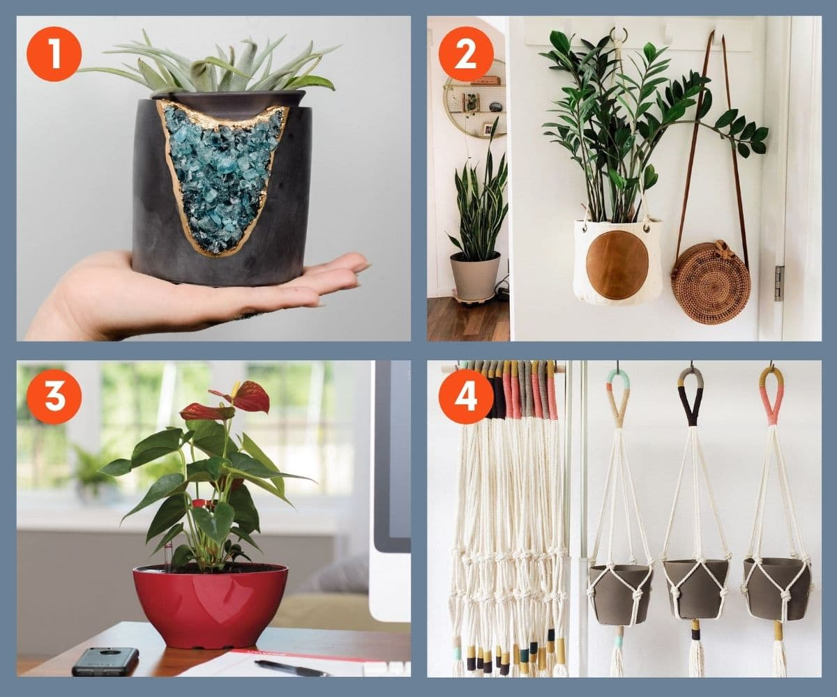 Collage of four pots, planters, and hangers for large and small potted plants.