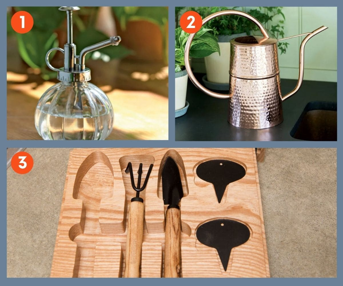 Collage of three houseplant tools including copper watering can and glass plant mister.