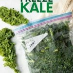 """Frozen kale in a closed, Ziploc freezer bag with fresh kale beside it. A text overlay reads, """"How to Freeze Kale."""""""