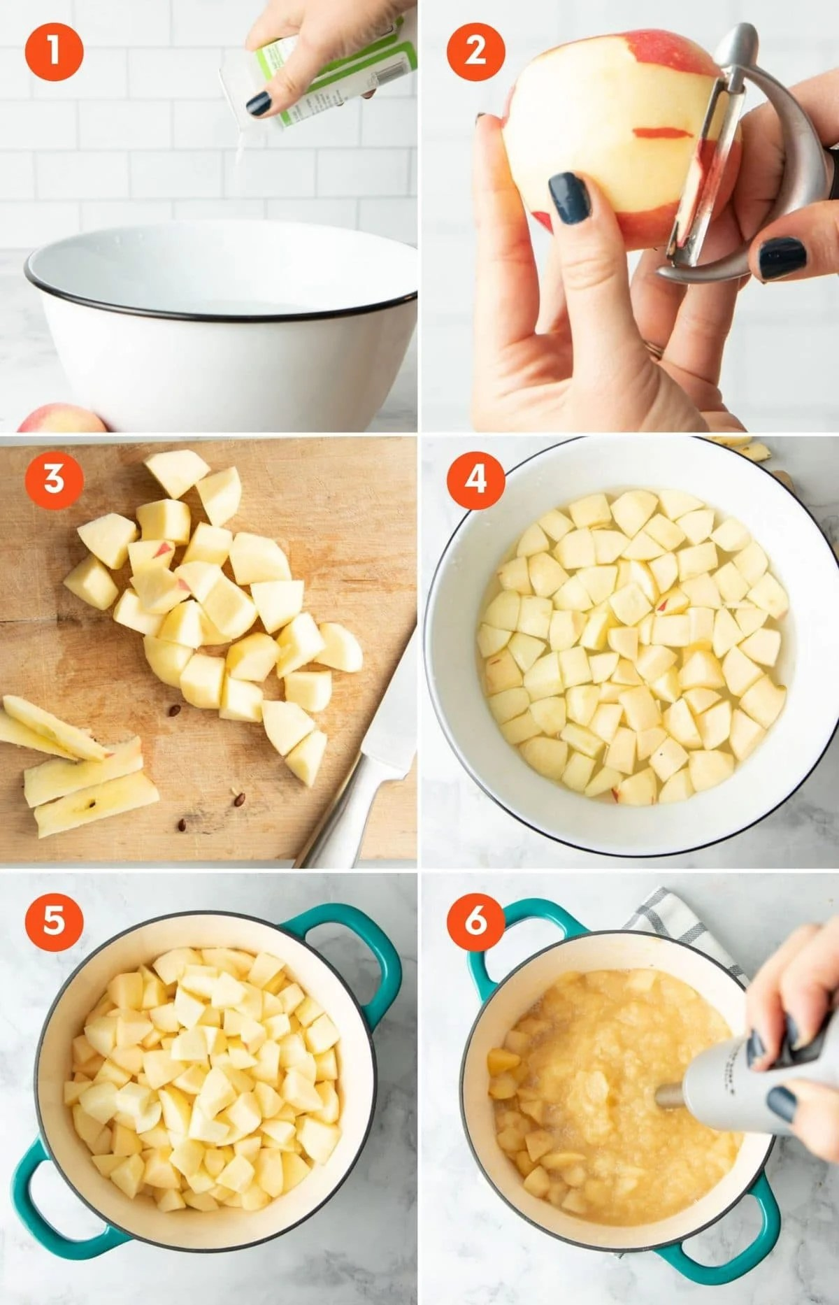 Collage showing six steps to making homemade applesauce.