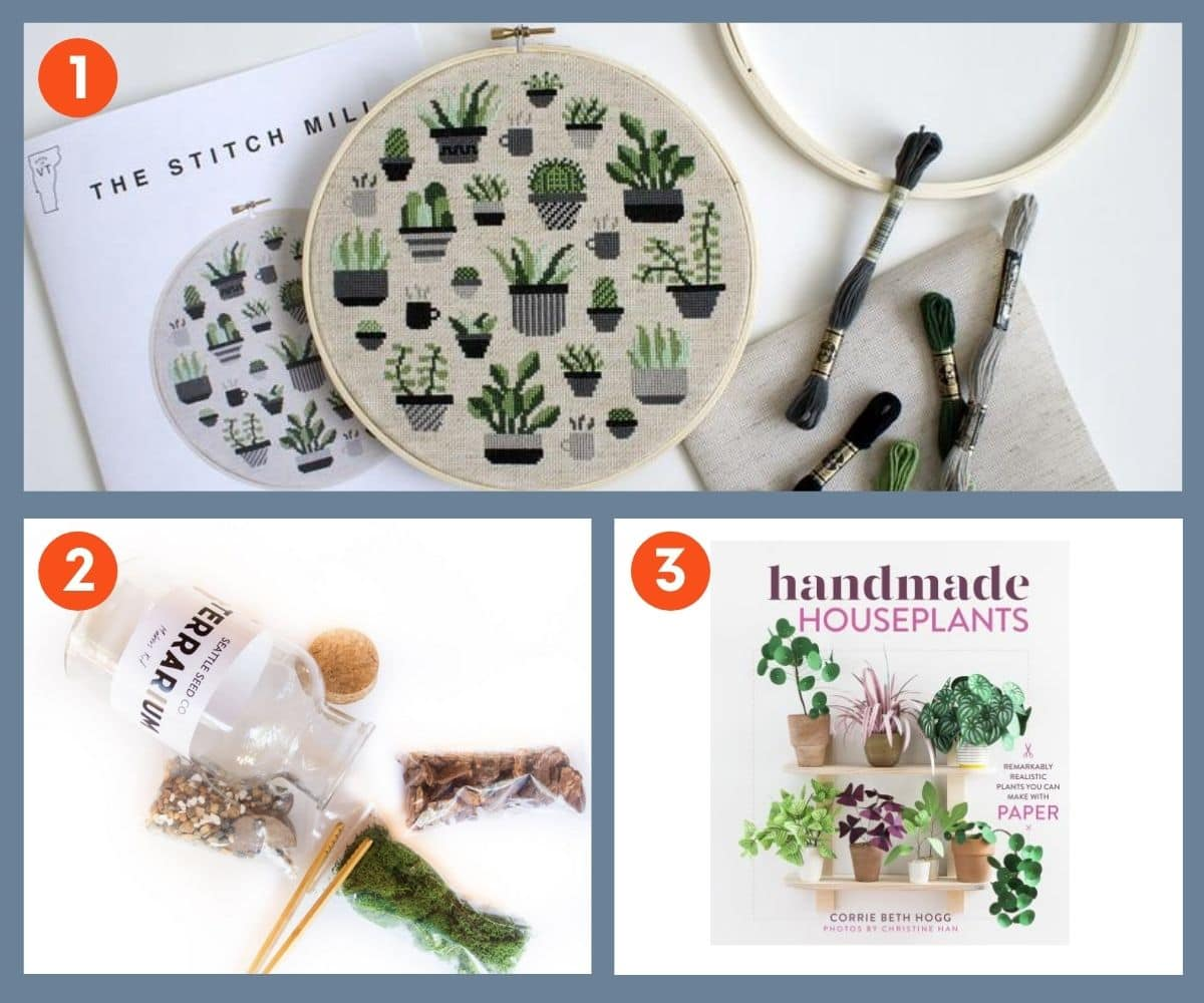 Collage of three craft gifts for plant lovers including stitching, terrariums, and how to make paper plants.