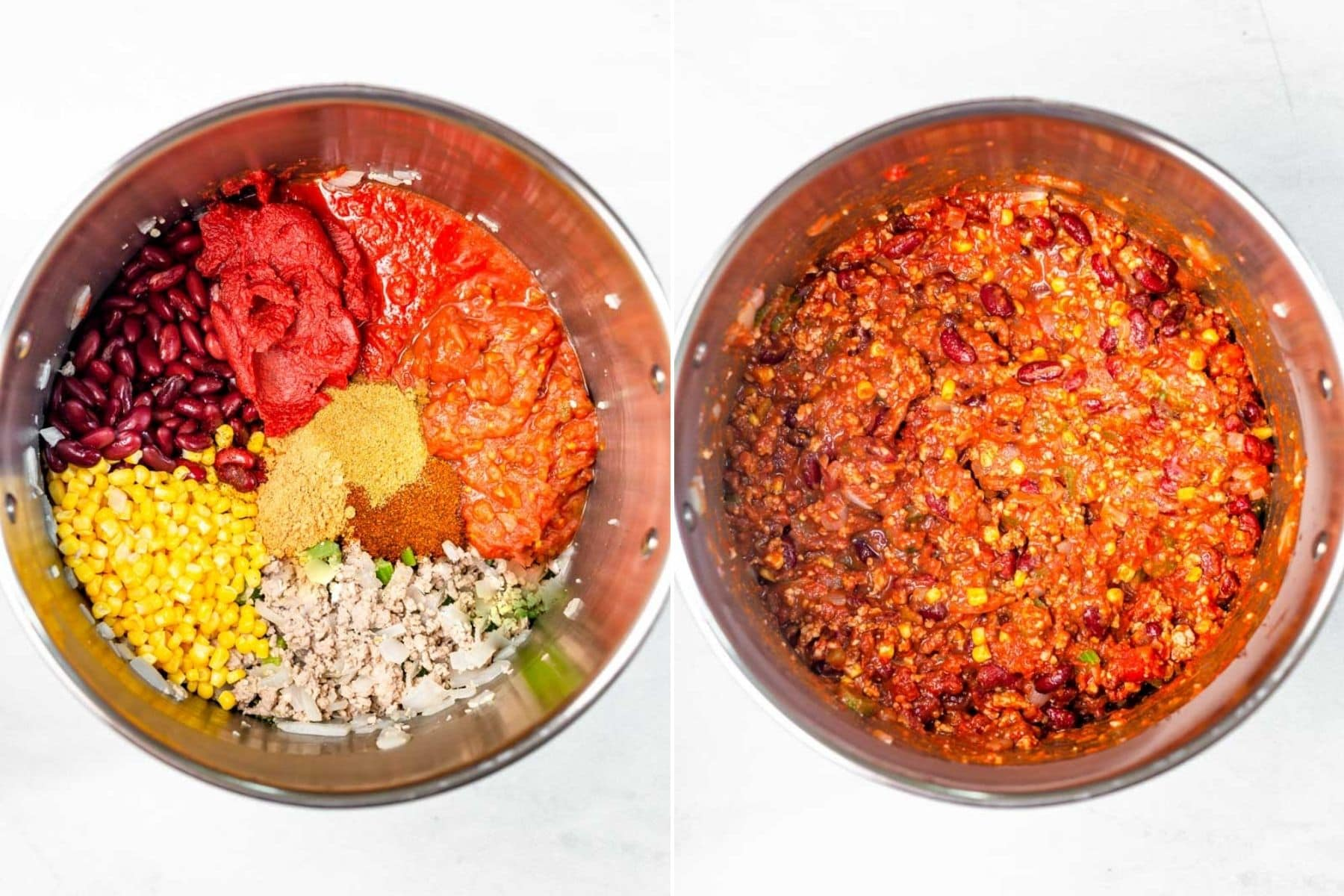 Collage of all the ingredients for chili in a pot with each ingredient separate and all the ingredients stirred together.