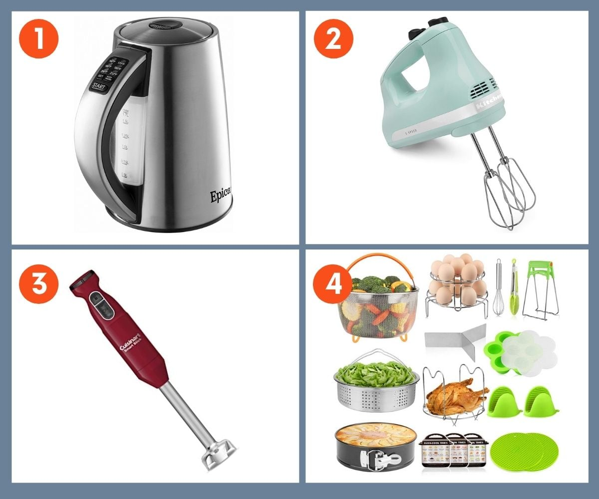 Collage of four small appliance gifts including an immersion blender and a hand mixer.