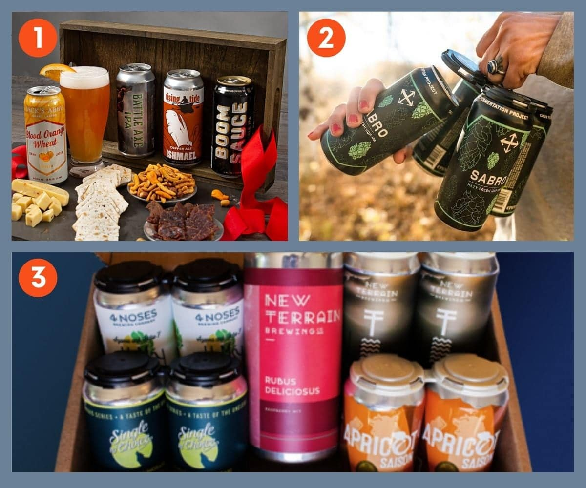 Collage of three beer gift boxes including New Terrain Brewing.