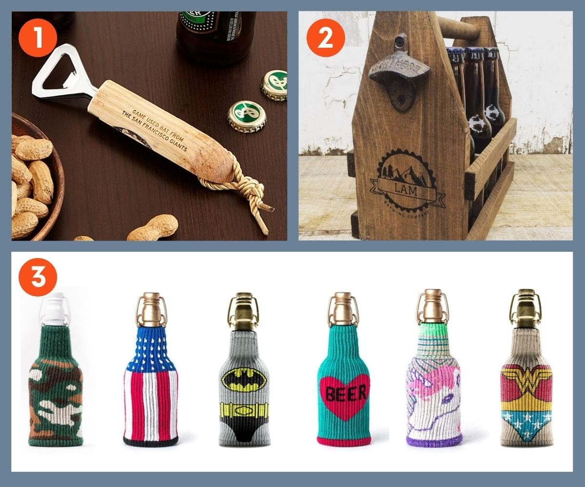 Collage of three beer accessories including bottle openers, caddies, and cozies.