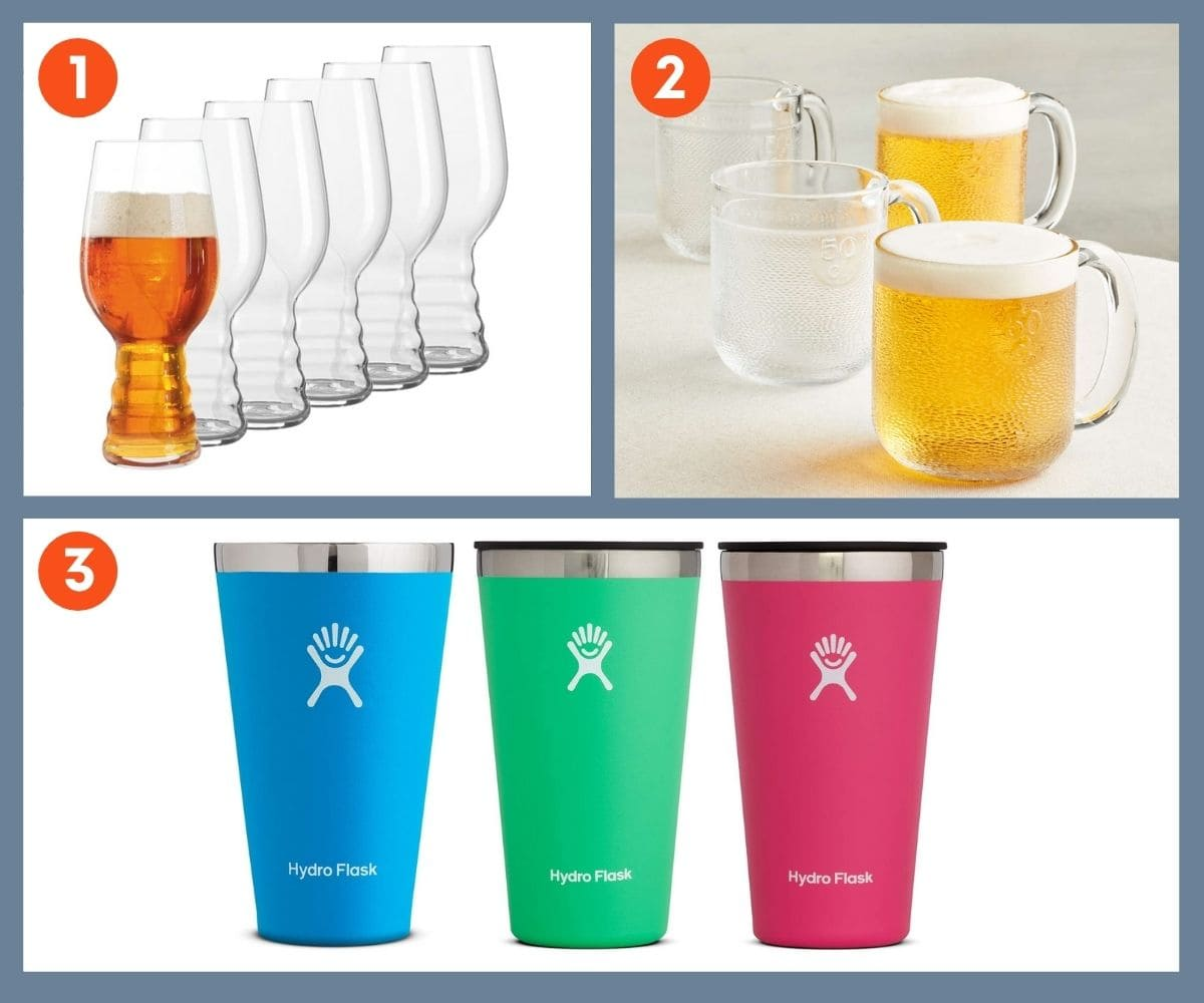 Collage of three gift ideas for beer glasses including specialty IPA glasses and Hydro Flask True Pint Glasses.