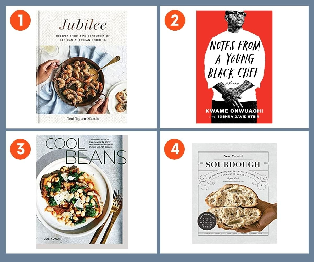 Collage of four cookbooks for gifting including Cool Beans by Joe Yonan and New World Sourdough by Bryan Ford.